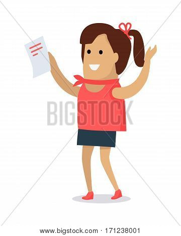 Happy woman with paper sheet in hands flat vector illustration isolated on white background. Secretary cartoon. Happy lady with letter. Working with documents, office paper work concept. Good job