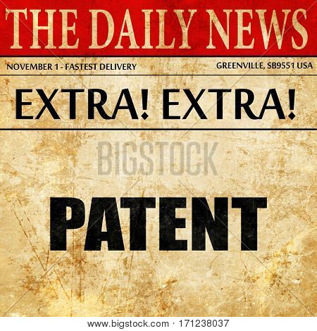 patent, article text in newspaper