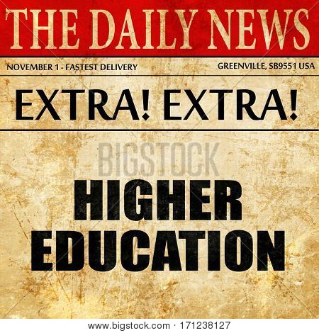higher education, article text in newspaper