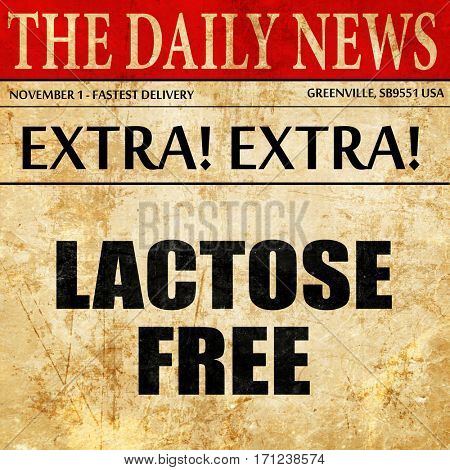 lactose free, article text in newspaper