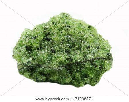 olivine semigem geode crystals geological mineral isolated