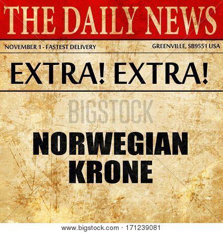 Norwegian krone, article text in newspaper