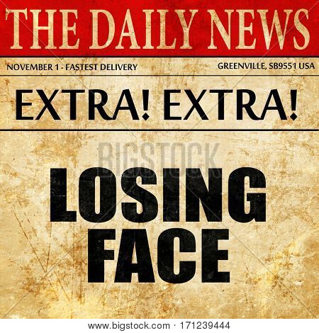 losing face, article text in newspaper