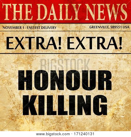 honour killing, article text in newspaper