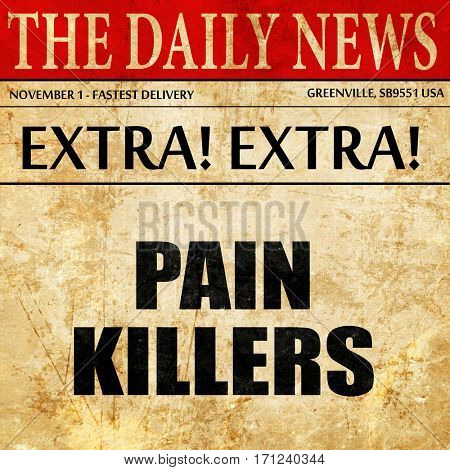 painkillers, article text in newspaper
