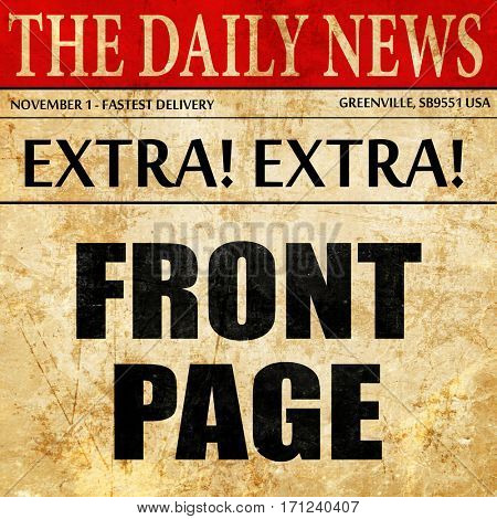 front page, article text in newspaper