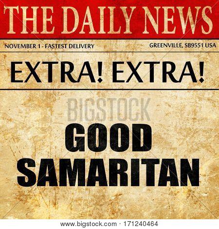 good samaritan, article text in newspaper