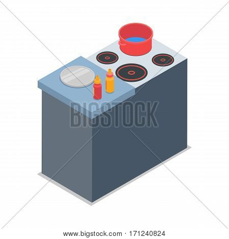 Cooker with red round pot isolated on white. Four burners. Grey working place near cooker. Two bottles of sauce and round steel tray on table. Simple cartoon style. Flat design. Vector