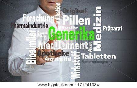 Generika (in German Generic) Wordcloud Touchscreen Is Operated By Man