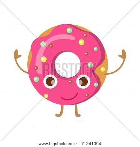 Doughnut with pink sprinkles isolated on white. Funny happy cartoon character. Colourful small balls. Huge tasty donut with big round hole inside. Children menu. Flat design. Vector illustration