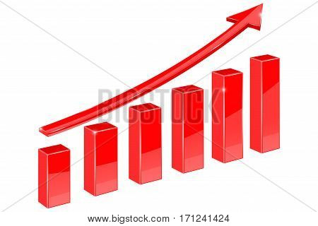 Financial graph. Red up rising arrow. Vector illustration isolated on white background