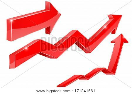 Arrows. Red financial indication arrows. Vector 3d illustration isolated on white background