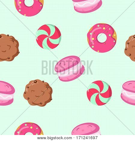 Chocolate biscuit, macaroon, caramel candy seamless pattern. Endless texture with delicious sweets. Wallpaper design with fresh confectionery. Tasty bakery. Vector illustration in flat style design