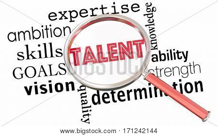 Talent Search Magnifying Glass Find Job Candidates Skilled People 3d Illustration