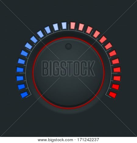 Switch round knob button. On dark plastic background. Vector illustration