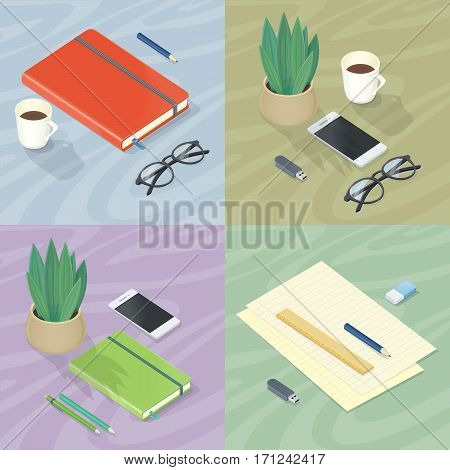 Workplace concepts set. Office supplies, mobile phone, flowerpot, glasses and cup of coffee on table surface vector in isometric projection. Business planning instruments. Stationery for everyday work
