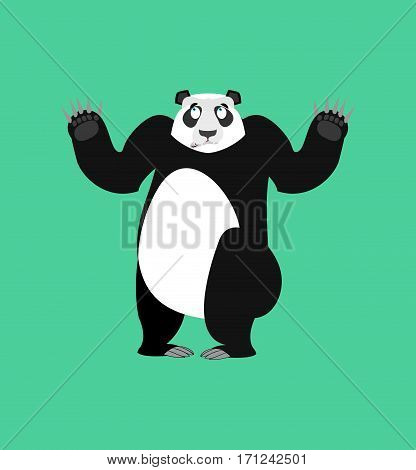 Panda Surprised Emoji. Chinese Bear Astonished Emotion Isolated