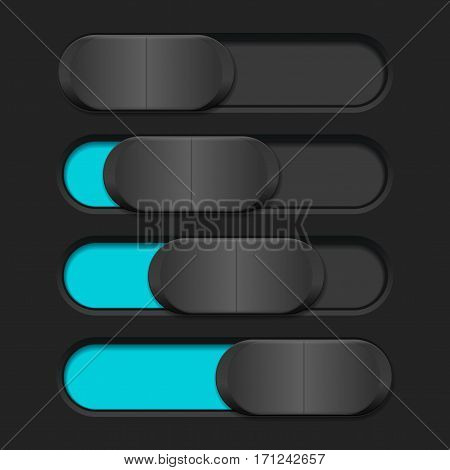 Interface slider. Blue bar on dark background. Vector illustration