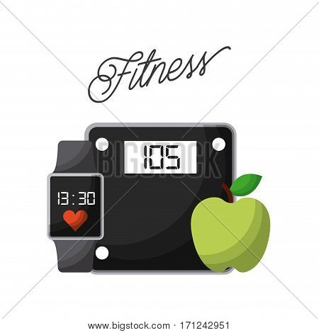 weight scale device, smart watch and apple icon over white background. healthy lifestyle concept. colorful design. vector illustration