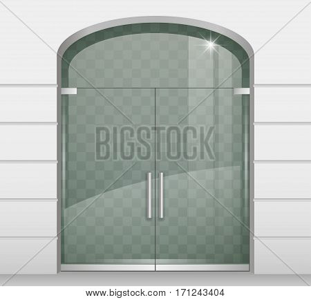 Double arch glass doors to the shopping center or office. Vector graphics with transparency effect