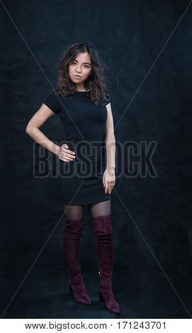 portrait of asian girl on dark background