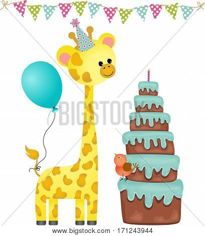 Scalable vectorial image representing a birthday party with balloon, giraffe and cake, isolated on white.