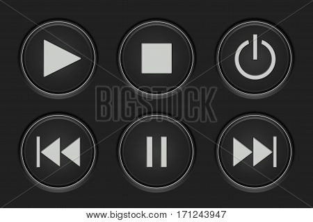 Media player buttons set. Play, stop, pause button. Vector illustration