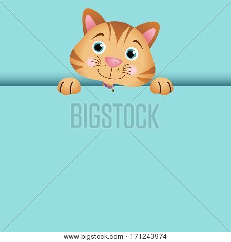 Scalable vectorial image representing a Curious cat peeking out,