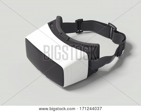 VR virtual reality headset on white floor. 3d rendering