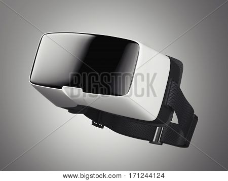 VR virtual reality headset on white floor. Side view. 3d rendering