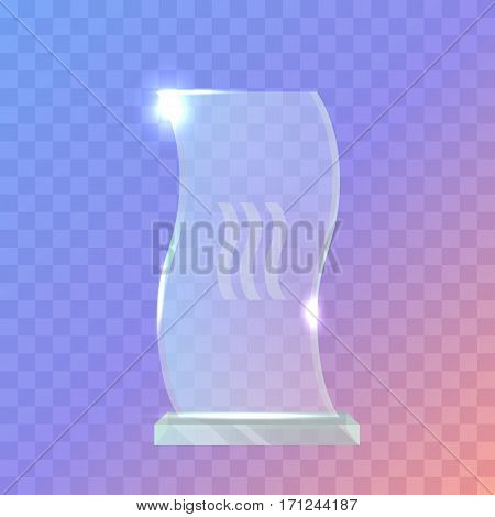 Trophy. Beautiful realistic crystal award with in wave shape. Plate basement. Three little waves in the center. Shiny. Glossy. Flat design. Vector illustration