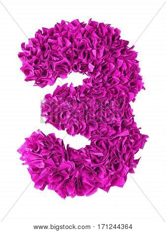 Three. Handmade number 3 from magenta color crepe paper isolated on white background. Set of pink numbers from scraps of paper