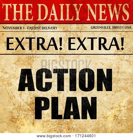 action plan, article text in newspaper