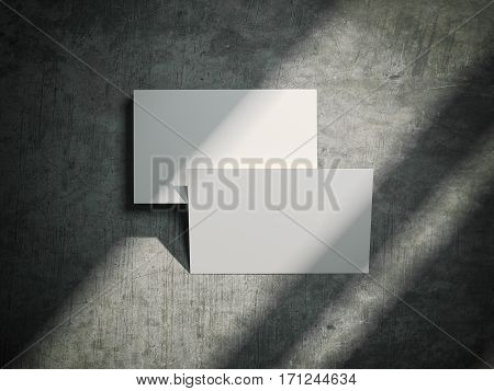 White business cards on the stone floor and shadows. 3d rendering