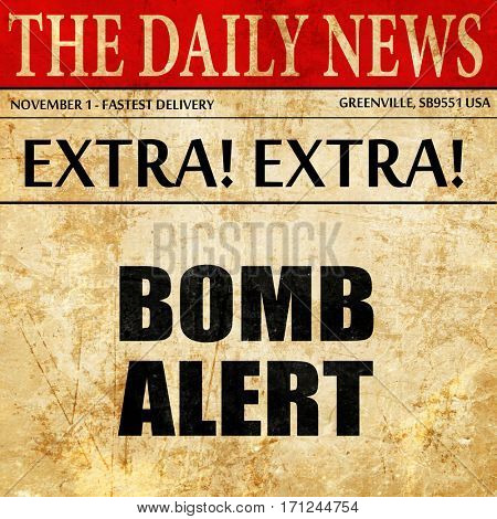 bomb alert, article text in newspaper