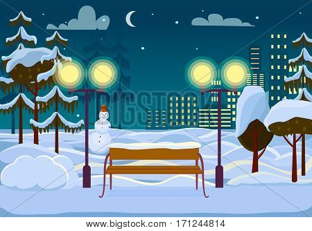 Snowy winter city park at night. Wooden bench in snow, street lights, snowy trees, snowman, city buildings, moon and stars flat vectors. Winter idyll. Peaceful place for strolling at Christmas eve