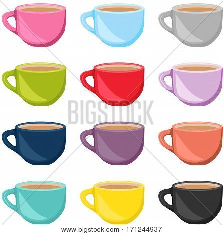 Scalable vectorial image representing a set of colorful tea cups, isolated on white.
