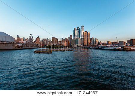 Pier Hudson River Park sunset from the river