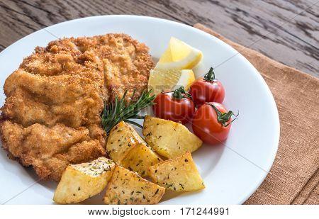 Portion Of Schnitzel With Garnish
