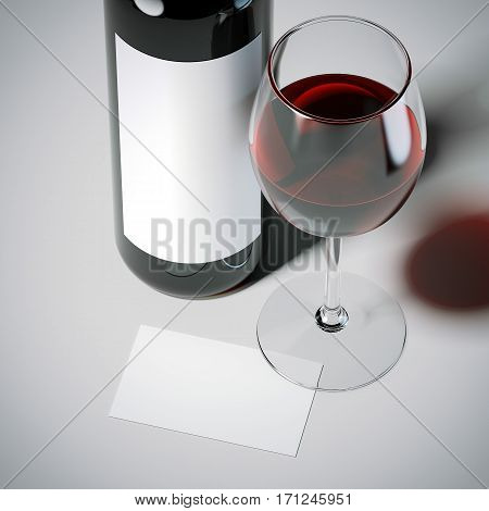 Business card with red wine bottle and glass on white floor. 3d rendering