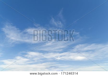 Blue cloudy and clean sky background close up