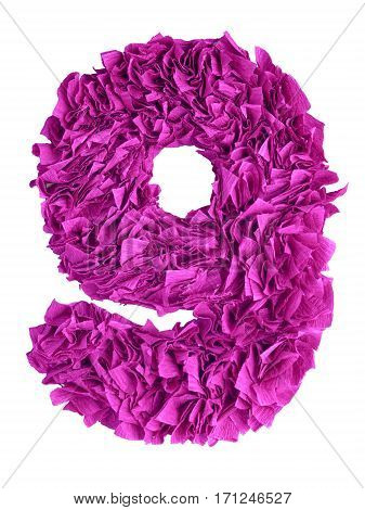Nine. Handmade number 9 from magenta color crepe paper isolated on white background. Set of pink numbers from scraps of paper