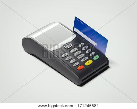 POS portable credit card machine and credit card isolated on white. 3d rendering