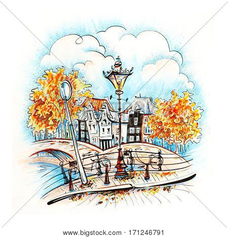 Color hand drawing, city view of Amsterdam typical houses, bridges and streetlight, Holland, Netherlands. Picture made markers
