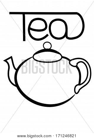 black jug on a white background with the word Tea