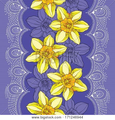 Vector seamless pattern with outline narcissus or daffodil flower in yellow on the violet background with ornate white lace. Floral background with narcissus for spring design in contour style.