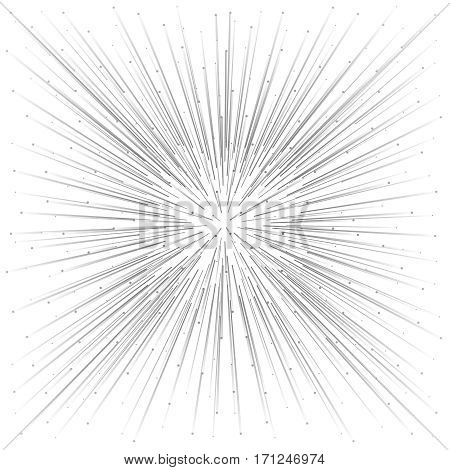 Explosion particle emission geometric template abstract background vector illustration