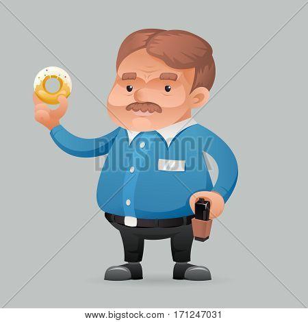 Fat policeman security guard donut Icon retro cartoon symbol template vector illustration