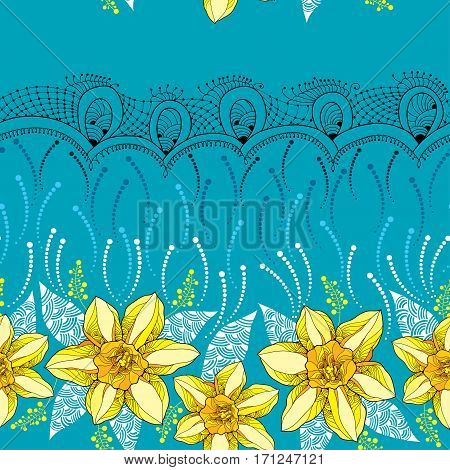 Vector seamless pattern with outline narcissus or daffodil flower in yellow on the turquoise background with ornate lace. Floral background with narcissus for spring design in contour style.