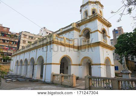 DHAKA, BANGLADESH - FEBRUARY 2,1 2014: Exterior of the Armenian Apostolic Church of the Holy Resurrection in Dhaka, Bangladesh.